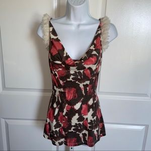 Deletta Muted Floral Drape Tank Top Fray Ruffle MD